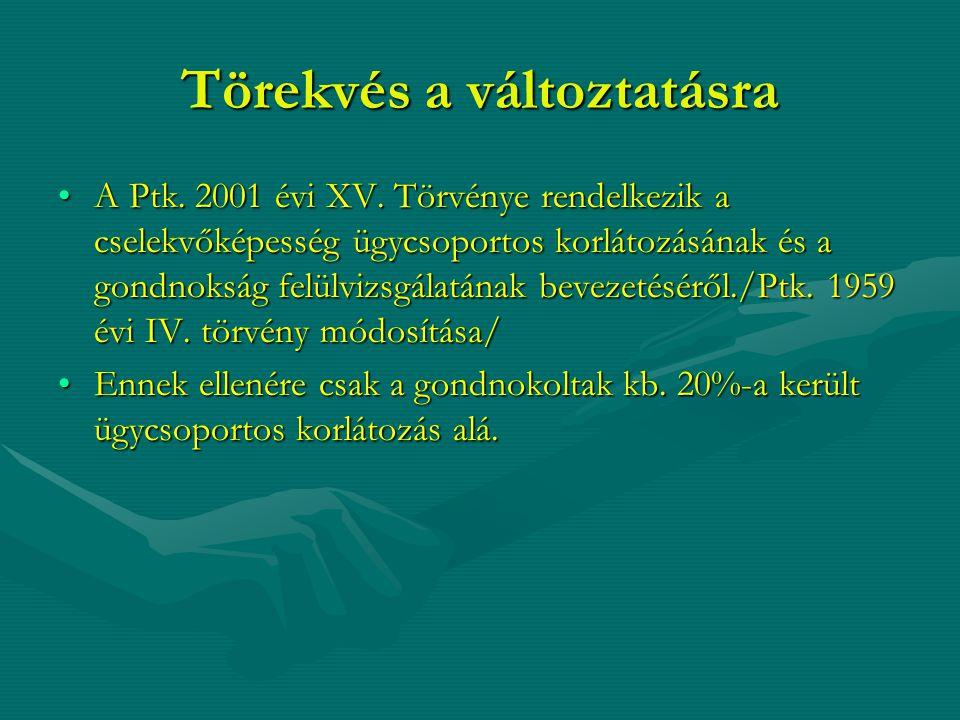 Törekvés a változtatásra A Ptk. 2001 évi XV. Törvénye rendelkezik a cselekvőképesség ügycsoportos korlátozásának és a gondnokság felülvizsgálatának be