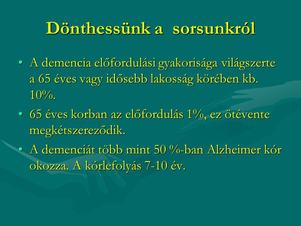 Dönthessünk a sorsunkról A demencia előfordulási gyakorisága világszerte a 65 éves vagy idősebb lakosság körében kb. 10%.A demencia előfordulási gyako
