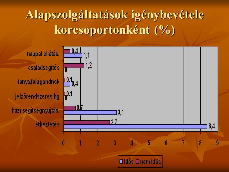 Alapszolgáltatások igénybevétele korcsoportonként (%)