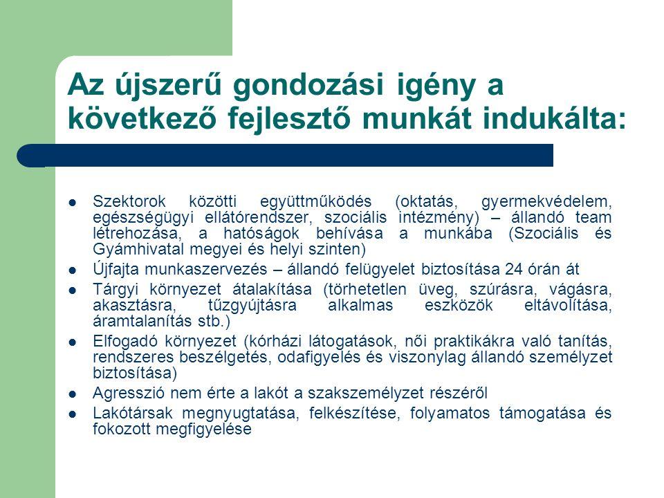 Az újszerű gondozási igény a következő fejlesztő munkát indukálta: Szektorok közötti együttműködés (oktatás, gyermekvédelem, egészségügyi ellátórendsz