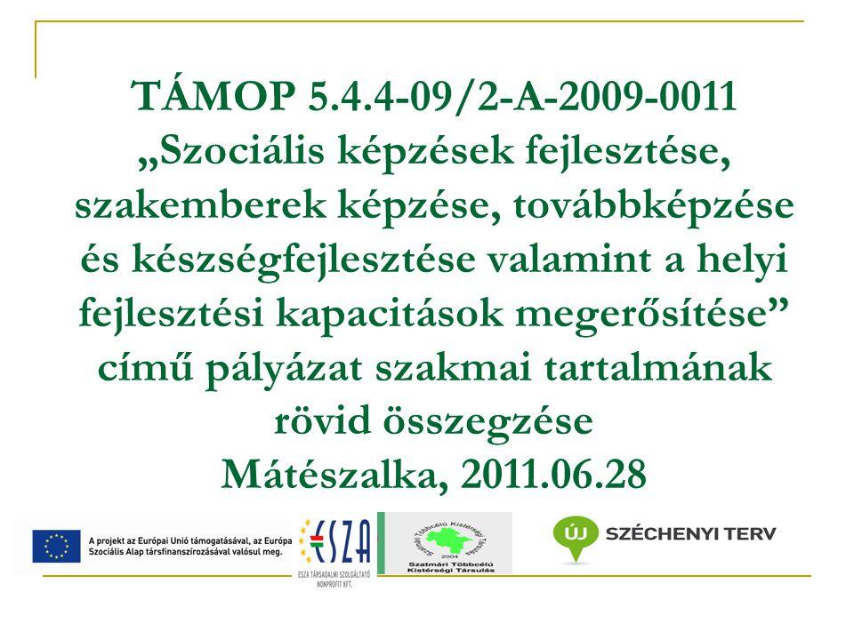 """TÁMOP 5.4.4-09/2-A-2009-0011 """"Szociális képzések fejlesztése, szakemberek képzése, továbbképzése és készségfejlesztése valamint a helyi fejlesztési kapacitások megerősítése című pályázat szakmai tartalmának rövid összegzése Mátészalka, 2011.06.28"""