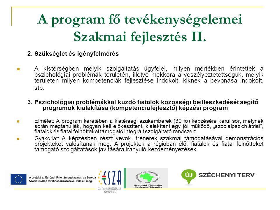 A program fő tevékenységelemei Szakmai fejlesztés III.