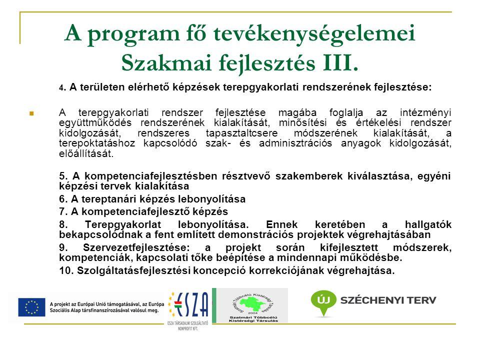 A program fő tevékenységelemei Eredmények továbbvitelének előkészítése 1.
