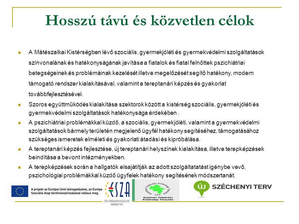 Hosszú távú és közvetlen célok A Mátészalkai Kistérségben lévő szociális, gyermekjóléti és gyermekvédelmi szolgáltatások színvonalának és hatékonyságának javítása a fiatalok és fiatal felnőttek pszichiátriai betegségeinek és problémáinak kezelését illetve megelőzését segítő hatékony, modern támogató rendszer kialakításával, valamint a tereptanári képzés és gyakorlat továbbfejlesztésével.