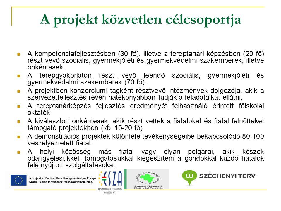 A projekt közvetlen célcsoportja A kompetenciafejlesztésben (30 fő), illetve a tereptanári képzésben (20 fő) részt vevő szociális, gyermekjóléti és gyermekvédelmi szakemberek, illetve önkéntesek.
