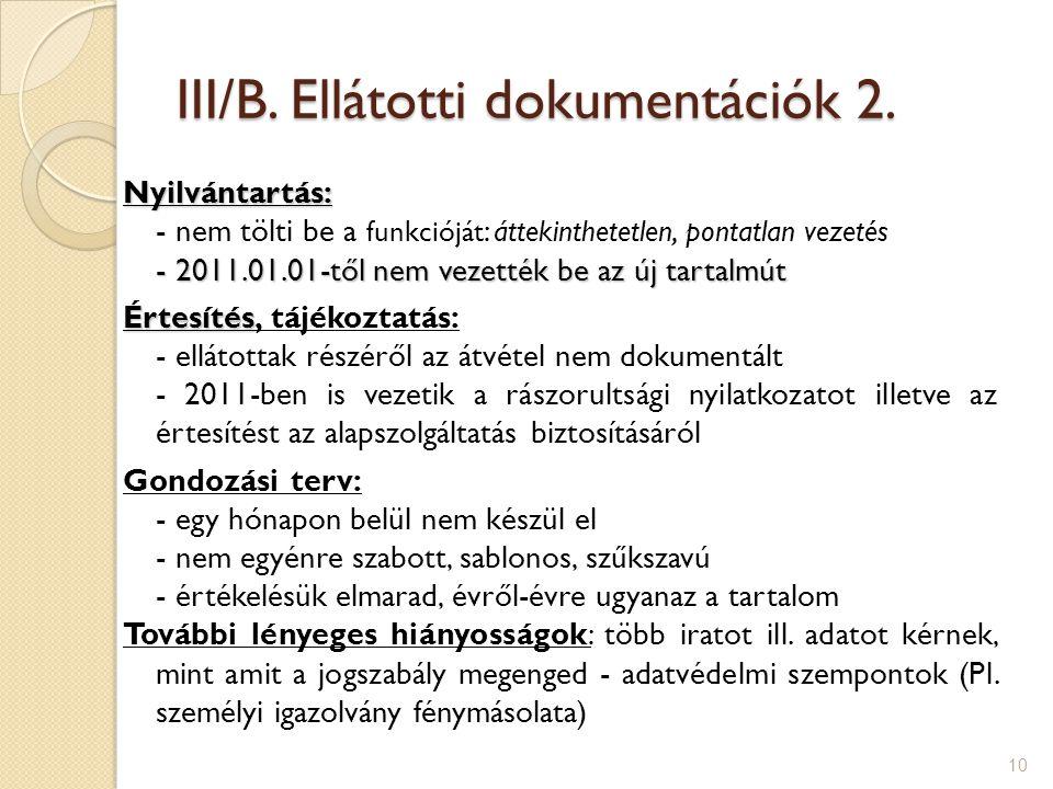 III/B.Ellátotti dokumentációk 2.