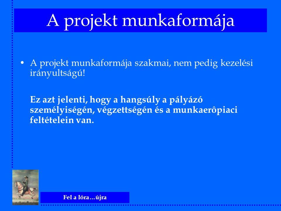 Fel a lóra…újra A projekt munkaformája A projekt munkaformája szakmai, nem pedig kezelési irányultságú! Ez azt jelenti, hogy a hangsúly a pályázó szem
