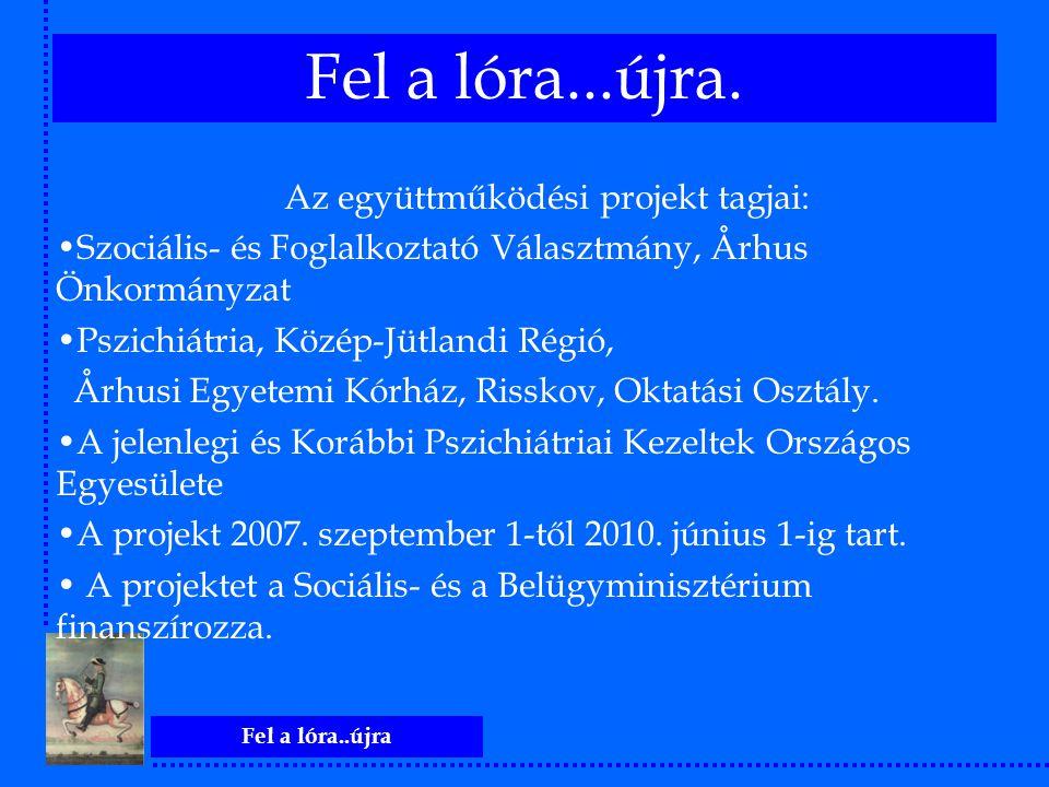 Fel a lóra..újra Az együttműködési projekt tagjai: Szociális- és Foglalkoztató Választmány, Århus Önkormányzat Pszichiátria, Közép-Jütlandi Régió, Årh