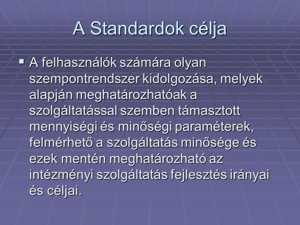 A Standardok célja  A felhasználók számára olyan szempontrendszer kidolgozása, melyek alapján meghatározhatóak a szolgáltatással szemben támasztott mennyiségi és minőségi paraméterek, felmérhető a szolgáltatás minősége és ezek mentén meghatározható az intézményi szolgáltatás fejlesztés irányai és céljai.