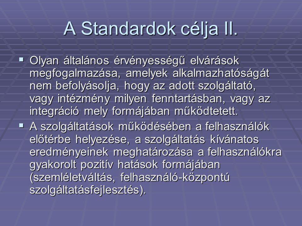 A Standardok célja II.
