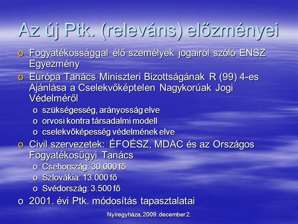 Nyíregyháza, 2009. december 2. Az új Ptk.