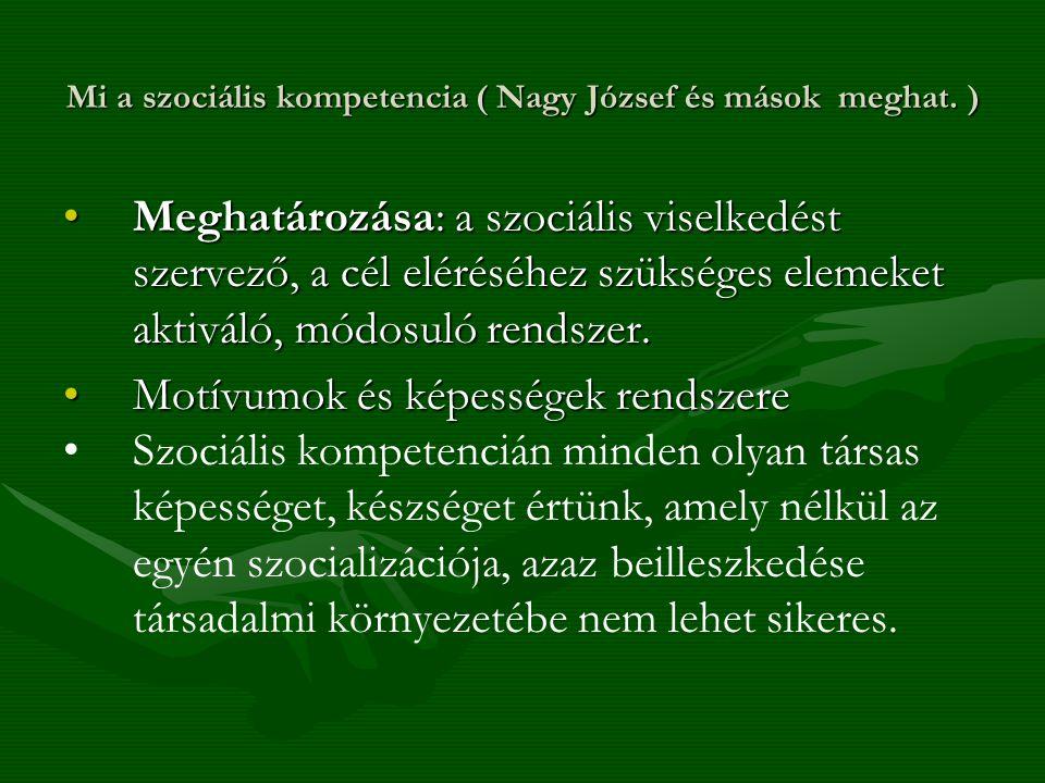 Mi a szociális kompetencia ( Nagy József és mások meghat. ) Meghatározása: a szociális viselkedést szervező, a cél eléréséhez szükséges elemeket aktiv