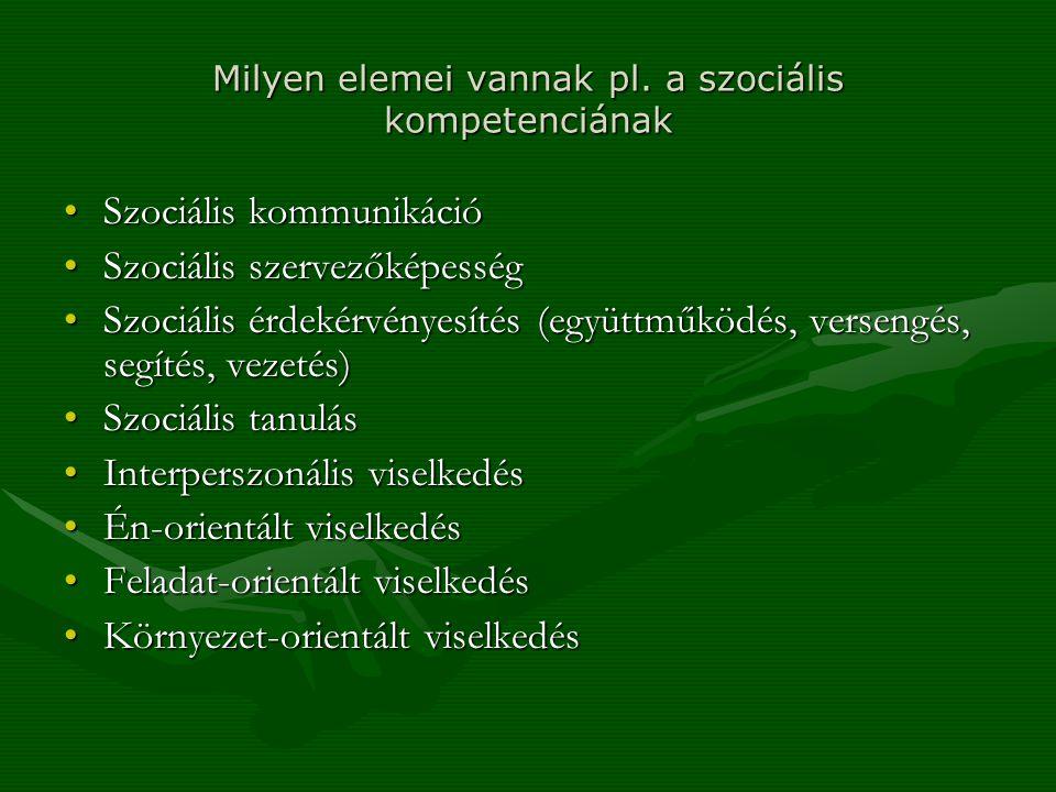 Milyen elemei vannak pl. a szociális kompetenciának Szociális kommunikációSzociális kommunikáció Szociális szervezőképességSzociális szervezőképesség