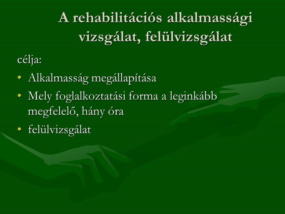 A rehabilitációs alkalmassági vizsgálat, felülvizsgálat célja: Alkalmasság megállapításaAlkalmasság megállapítása Mely foglalkoztatási forma a leginká