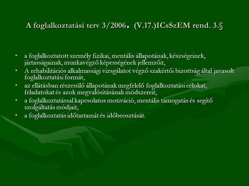 A foglalkoztatási terv 3/2006. (V.17.)ICsSzEM rend. 3.§ a foglalkoztatott személy fizikai, mentális állapotának, készségeinek, jártasságainak, munkavé