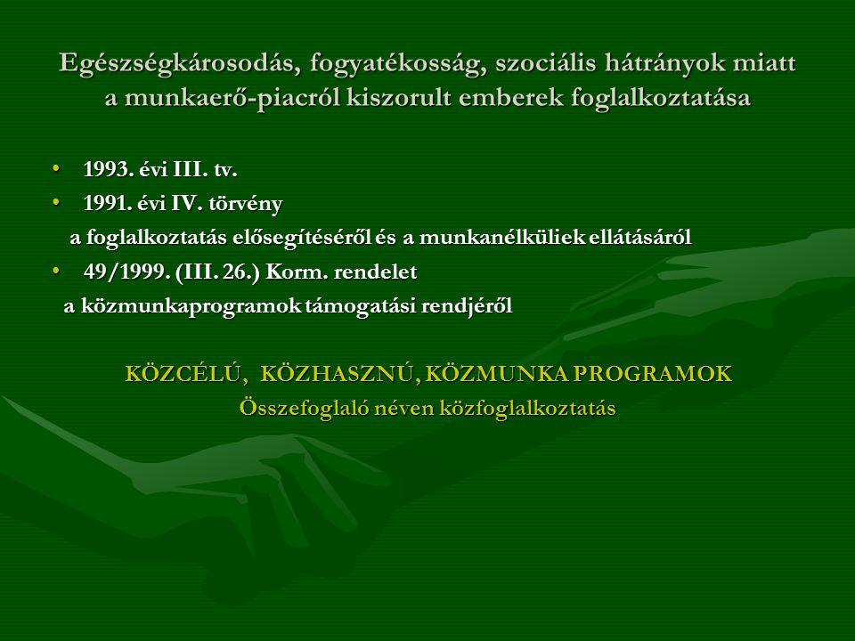 Egészségkárosodás, fogyatékosság, szociális hátrányok miatt a munkaerő-piacról kiszorult emberek foglalkoztatása 1993. évi III. tv.1993. évi III. tv.