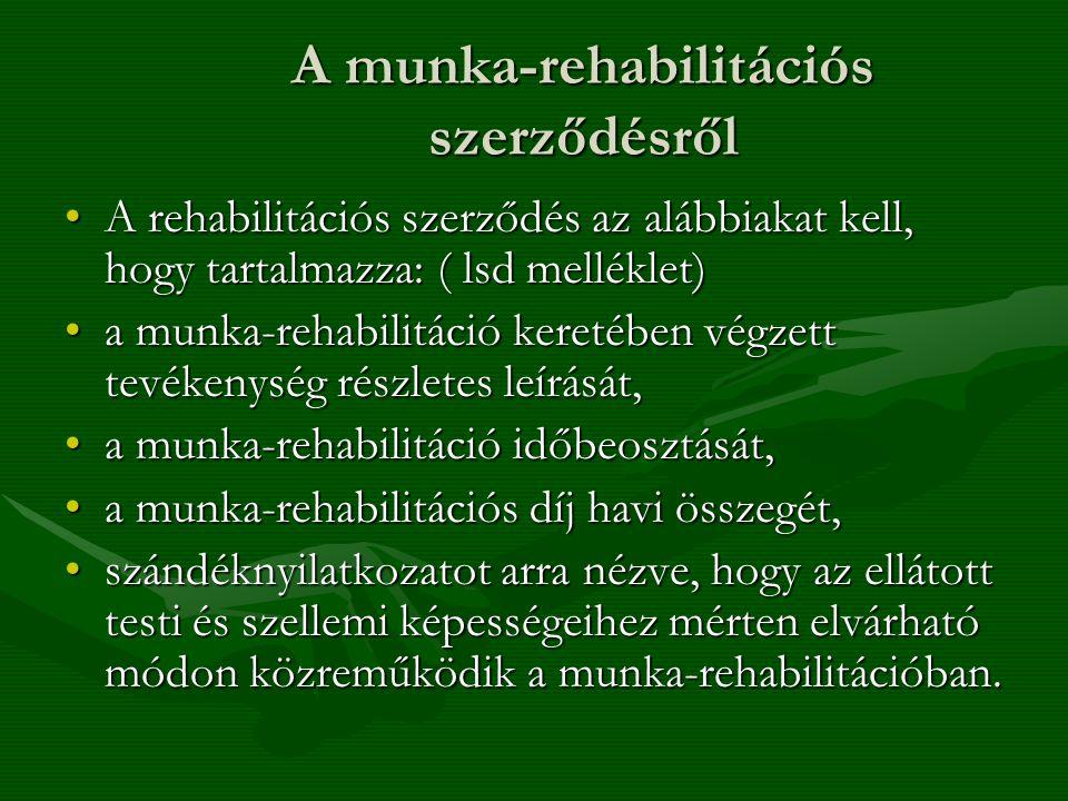A munka-rehabilitációs szerződésről A rehabilitációs szerződés az alábbiakat kell, hogy tartalmazza: ( lsd melléklet)A rehabilitációs szerződés az alá