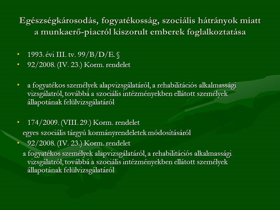 Egészségkárosodás, fogyatékosság, szociális hátrányok miatt a munkaerő-piacról kiszorult emberek foglalkoztatása 1993. évi III. tv. 99/B/D/E. §1993. é