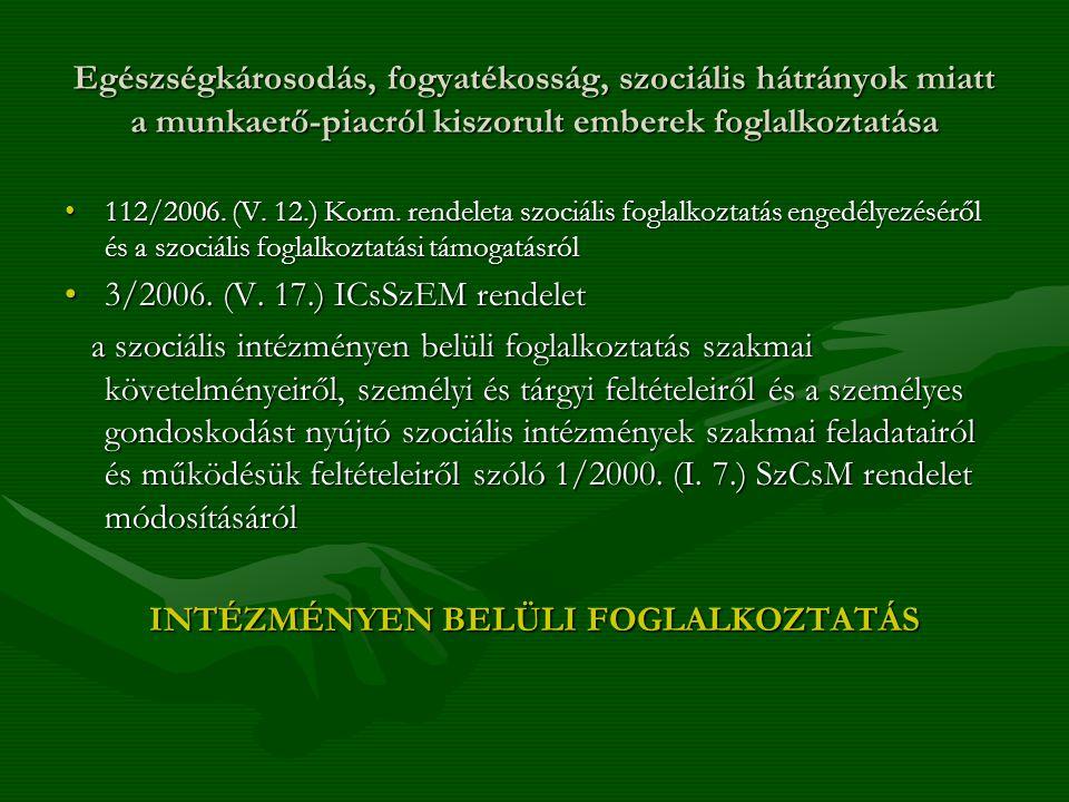 Egészségkárosodás, fogyatékosság, szociális hátrányok miatt a munkaerő-piacról kiszorult emberek foglalkoztatása 112/2006. (V. 12.) Korm. rendeleta sz