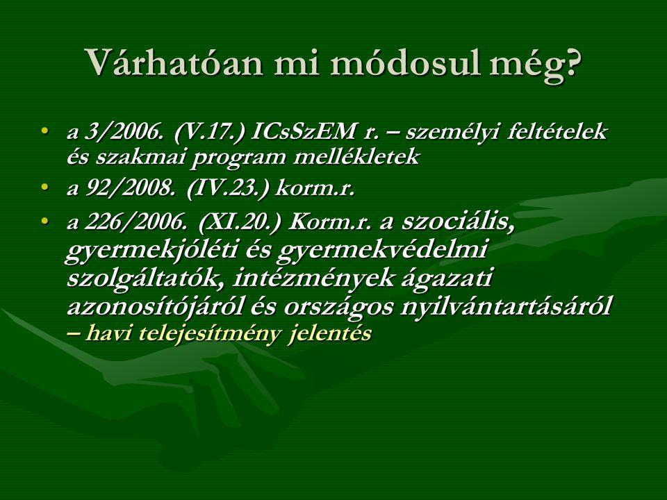 Várhatóan mi módosul még? a 3/2006. (V.17.) ICsSzEM r. – személyi feltételek és szakmai program mellékleteka 3/2006. (V.17.) ICsSzEM r. – személyi fel