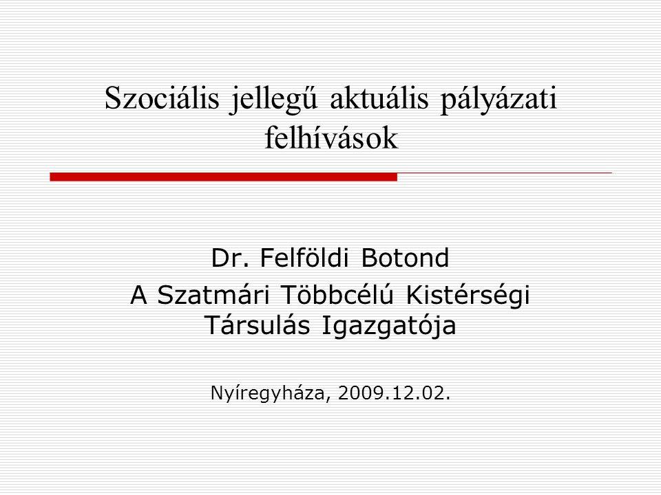 Szociális jellegű aktuális pályázati felhívások Dr. Felföldi Botond A Szatmári Többcélú Kistérségi Társulás Igazgatója Nyíregyháza, 2009.12.02.