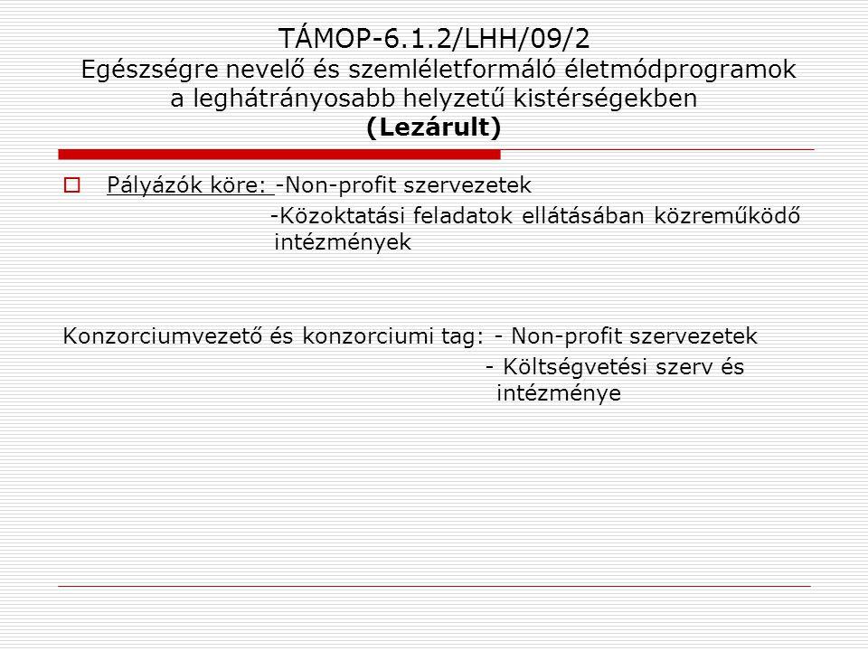 TÁMOP-6.1.2/LHH/09/2 Egészségre nevelő és szemléletformáló életmódprogramok a leghátrányosabb helyzetű kistérségekben (Lezárult)  Pályázók köre: -Non