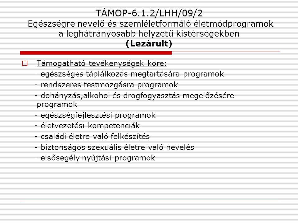 TÁMOP-6.1.2/LHH/09/2 Egészségre nevelő és szemléletformáló életmódprogramok a leghátrányosabb helyzetű kistérségekben (Lezárult)  Támogatható tevéken
