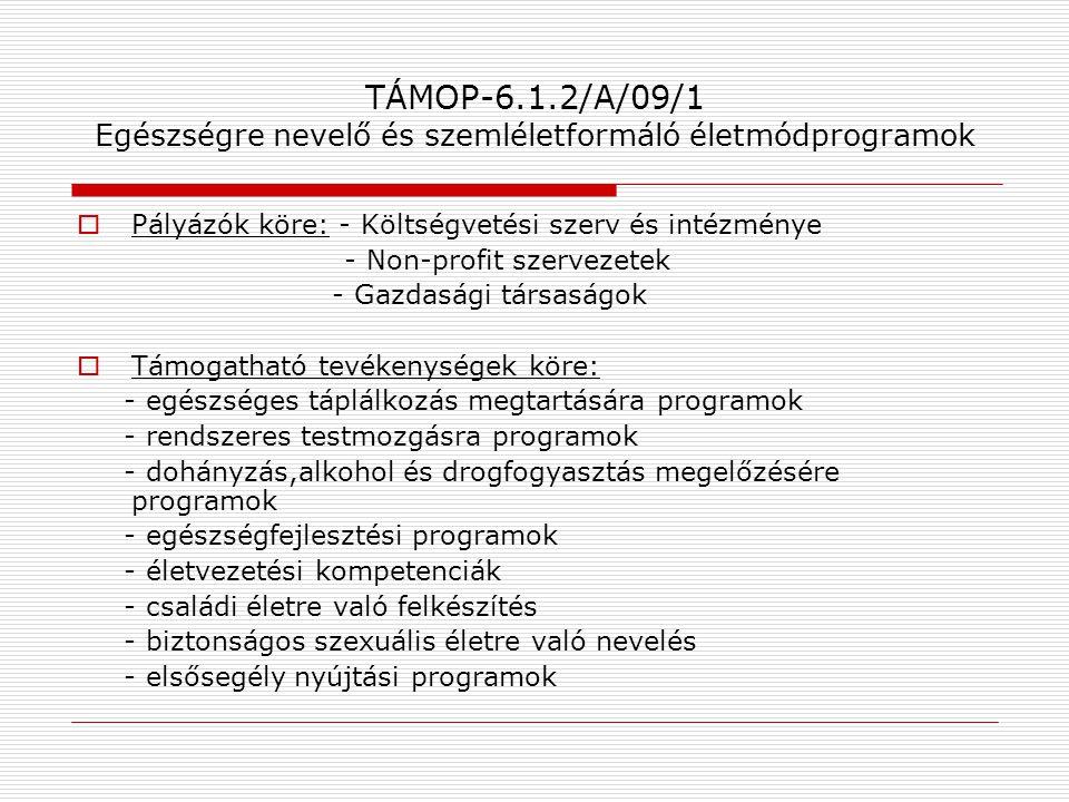 TÁMOP-6.1.2/A/09/1 Egészségre nevelő és szemléletformáló életmódprogramok  Pályázók köre: - Költségvetési szerv és intézménye - Non-profit szervezete