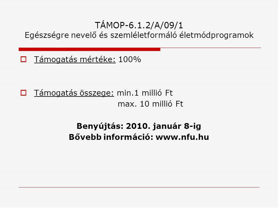 TÁMOP-6.1.2/A/09/1 Egészségre nevelő és szemléletformáló életmódprogramok  Támogatás mértéke: 100%  Támogatás összege: min.1 millió Ft max. 10 milli