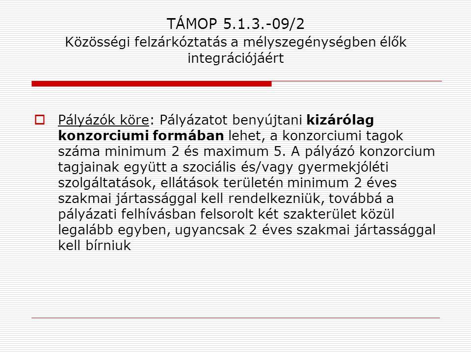 TÁMOP 5.1.3.-09/2 Közösségi felzárkóztatás a mélyszegénységben élők integrációjáért  Pályázók köre: Pályázatot benyújtani kizárólag konzorciumi formá