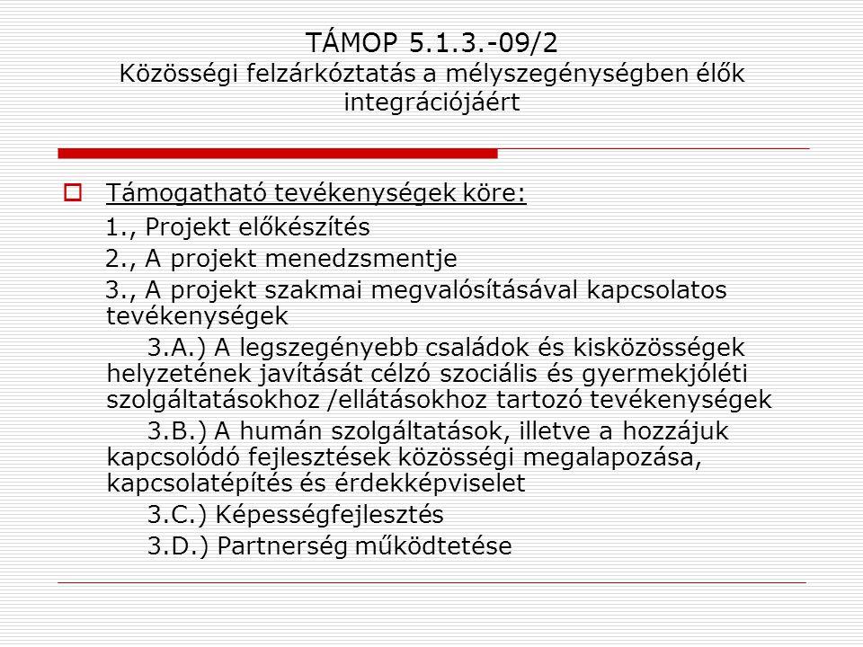 TÁMOP 5.1.3.-09/2 Közösségi felzárkóztatás a mélyszegénységben élők integrációjáért  Támogatható tevékenységek köre: 1., Projekt előkészítés 2., A pr