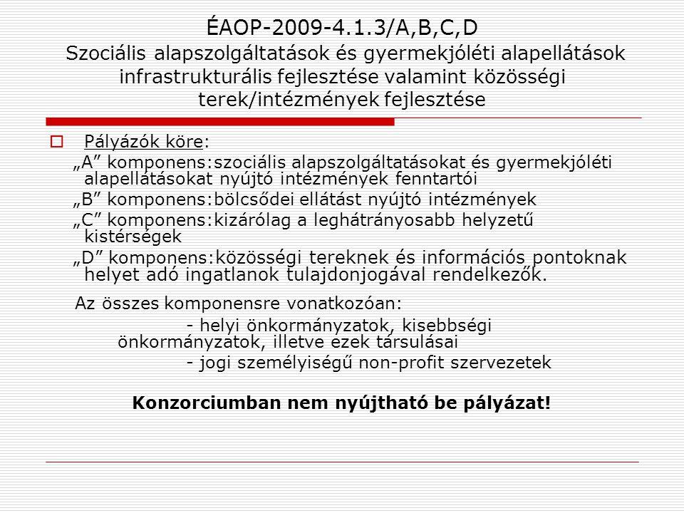 ÉAOP-2009-4.1.3/A,B,C,D Szociális alapszolgáltatások és gyermekjóléti alapellátások infrastrukturális fejlesztése valamint közösségi terek/intézmények
