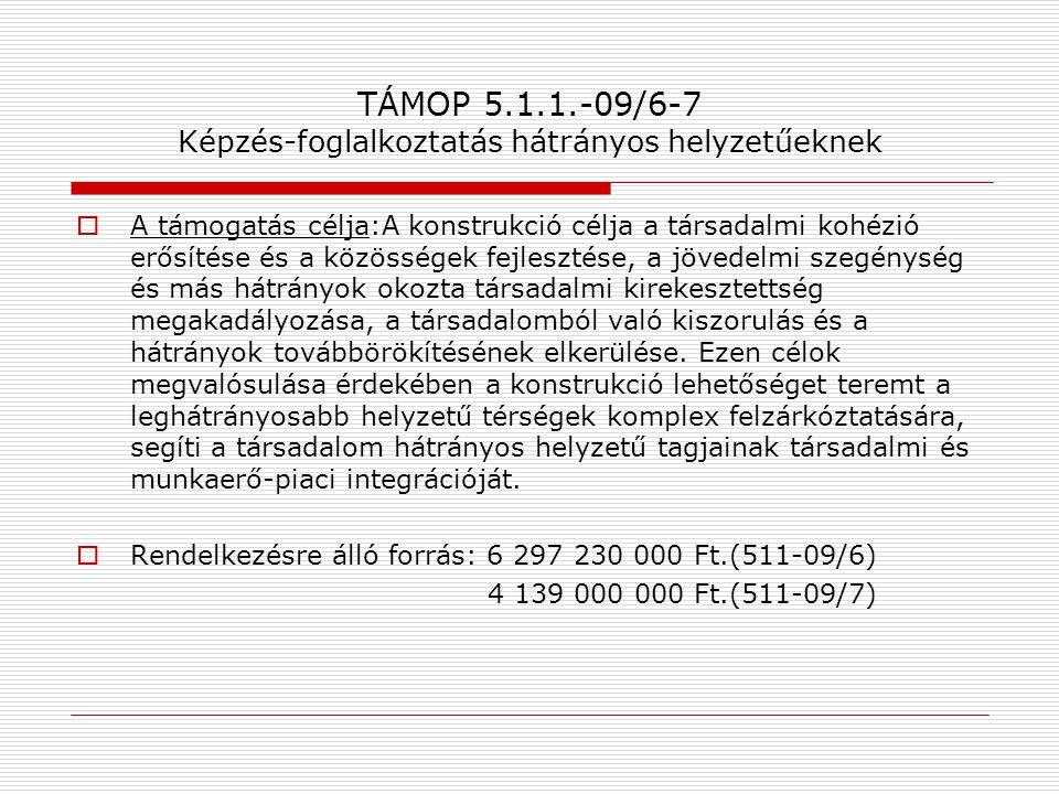 TÁMOP 5.1.1.-09/6-7 Képzés-foglalkoztatás hátrányos helyzetűeknek  A támogatás célja:A konstrukció célja a társadalmi kohézió erősítése és a közösség