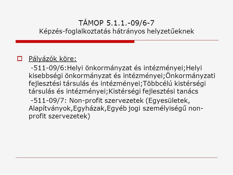 TÁMOP 5.1.1.-09/6-7 Képzés-foglalkoztatás hátrányos helyzetűeknek  Pályázók köre: -511-09/6:Helyi önkormányzat és intézményei;Helyi kisebbségi önkorm