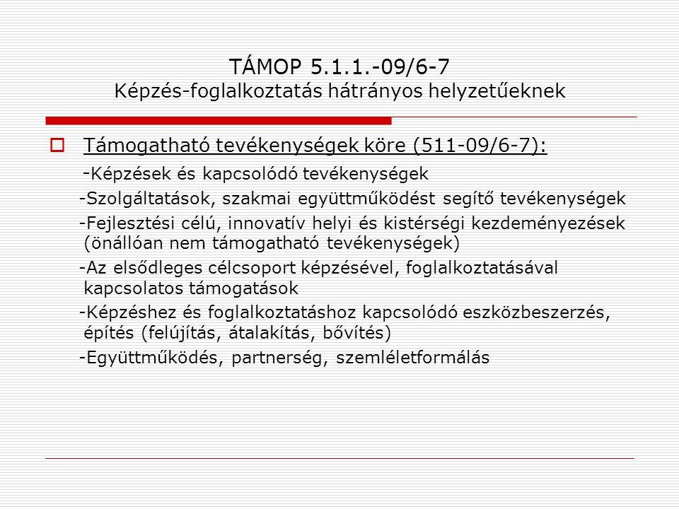 TÁMOP 5.1.1.-09/6-7 Képzés-foglalkoztatás hátrányos helyzetűeknek  Támogatható tevékenységek köre (511-09/6-7): - Képzések és kapcsolódó tevékenysége