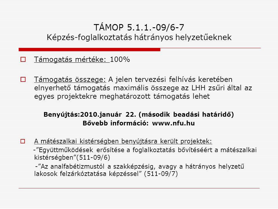TÁMOP 5.1.1.-09/6-7 Képzés-foglalkoztatás hátrányos helyzetűeknek  Támogatás mértéke: 100%  Támogatás összege: A jelen tervezési felhívás keretében