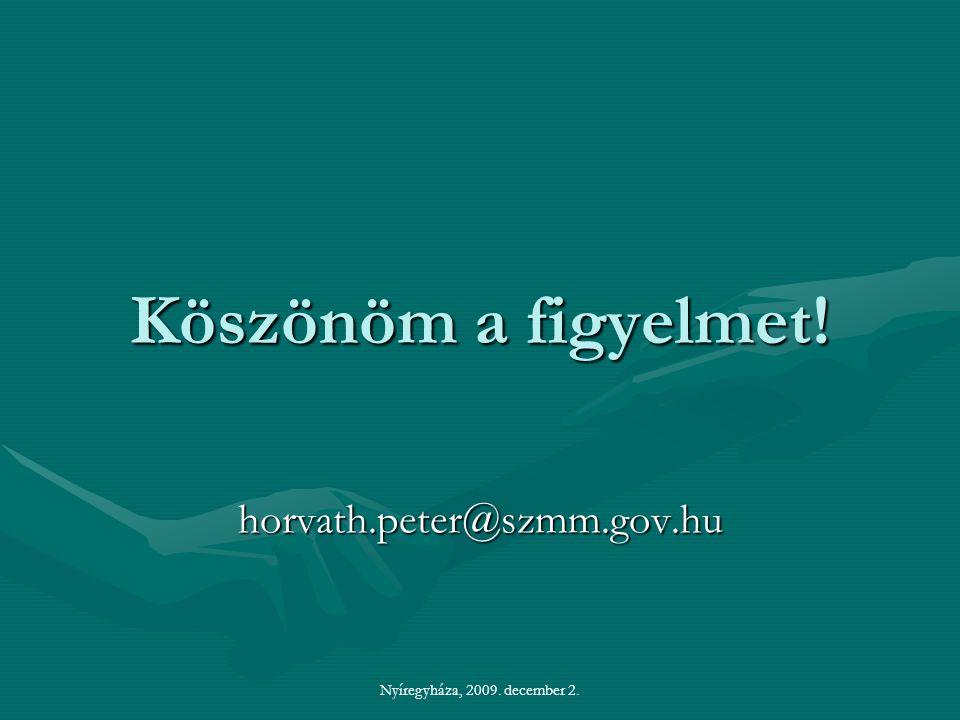 Nyíregyháza, 2009. december 2. Köszönöm a figyelmet! horvath.peter@szmm.gov.hu