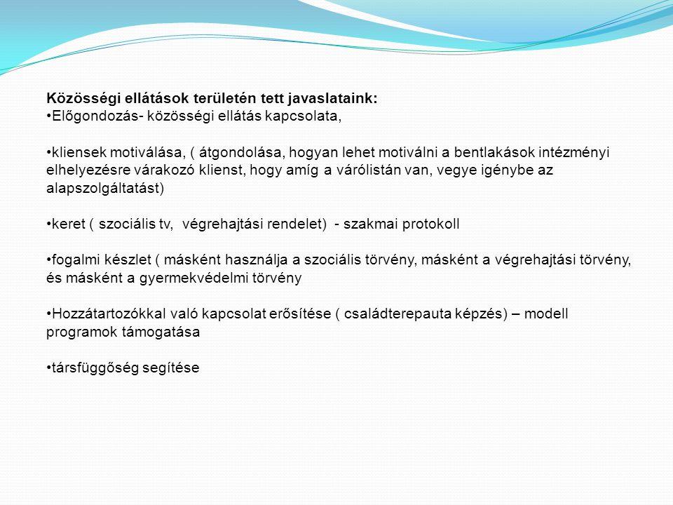 Közösségi ellátások területén tett javaslataink: Előgondozás- közösségi ellátás kapcsolata, kliensek motiválása, ( átgondolása, hogyan lehet motiválni a bentlakások intézményi elhelyezésre várakozó klienst, hogy amíg a várólistán van, vegye igénybe az alapszolgáltatást) keret ( szociális tv, végrehajtási rendelet) - szakmai protokoll fogalmi készlet ( másként használja a szociális törvény, másként a végrehajtási törvény, és másként a gyermekvédelmi törvény Hozzátartozókkal való kapcsolat erősítése ( családterepauta képzés) – modell programok támogatása társfüggőség segítése