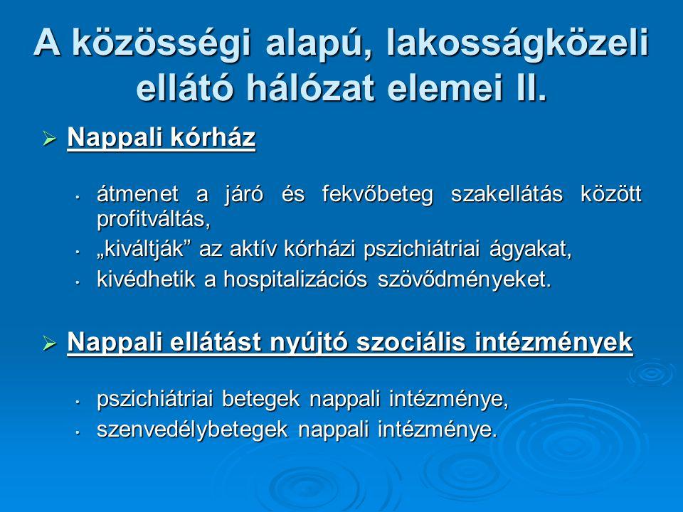 A közösségi alapú, lakosságközeli ellátó hálózat elemei II.