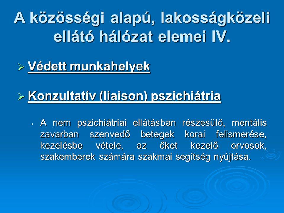 A közösségi alapú, lakosságközeli ellátó hálózat elemei IV.