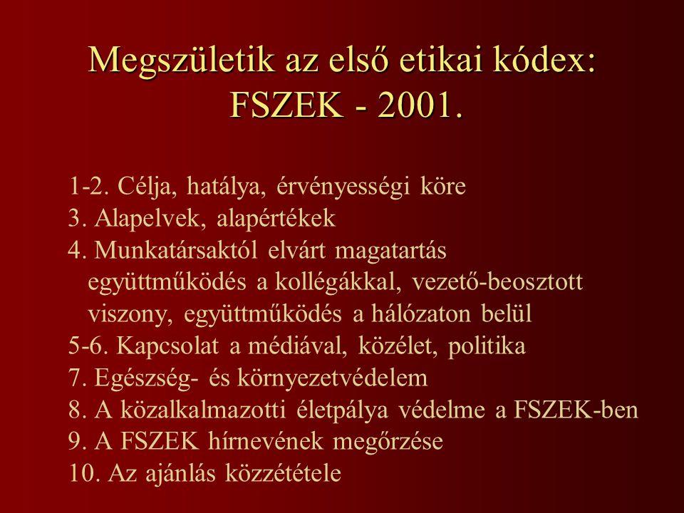 Megszületik az első etikai kódex: FSZEK - 2001. 1-2. Célja, hatálya, érvényességi köre 3. Alapelvek, alapértékek 4. Munkatársaktól elvárt magatartás e
