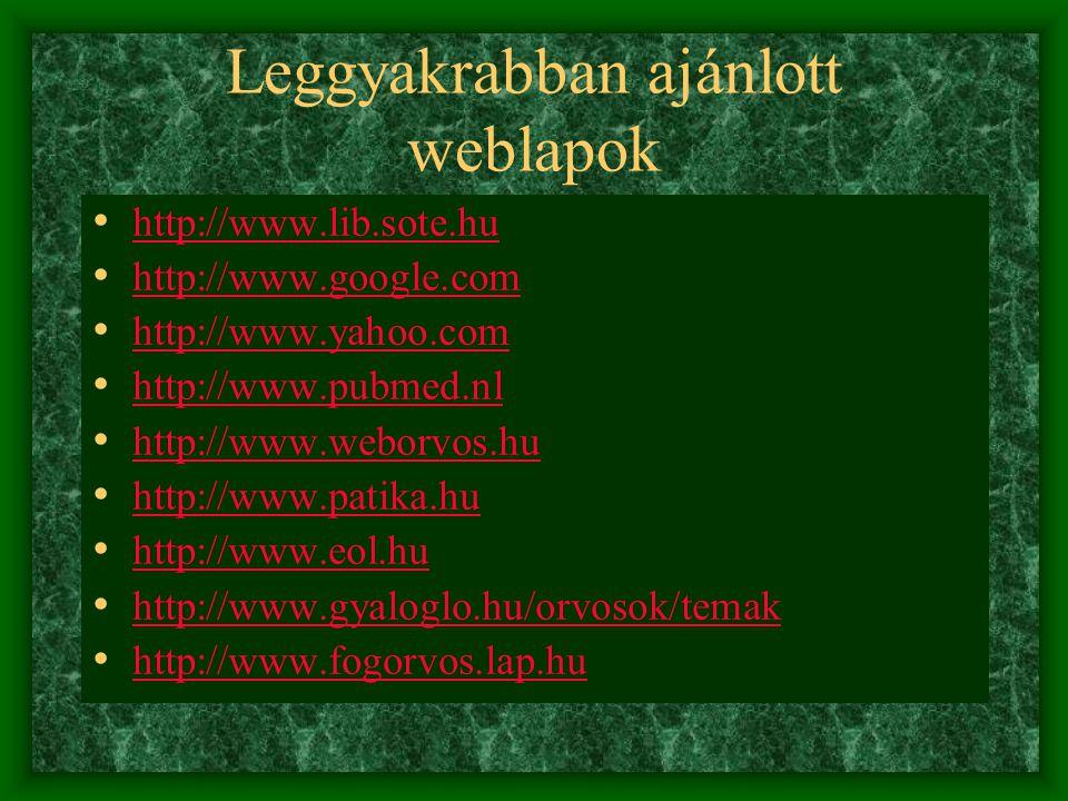 Leggyakrabban ajánlott weblapok http://www.lib.sote.hu http://www.google.com http://www.yahoo.com http://www.pubmed.nl http://www.weborvos.hu http://w