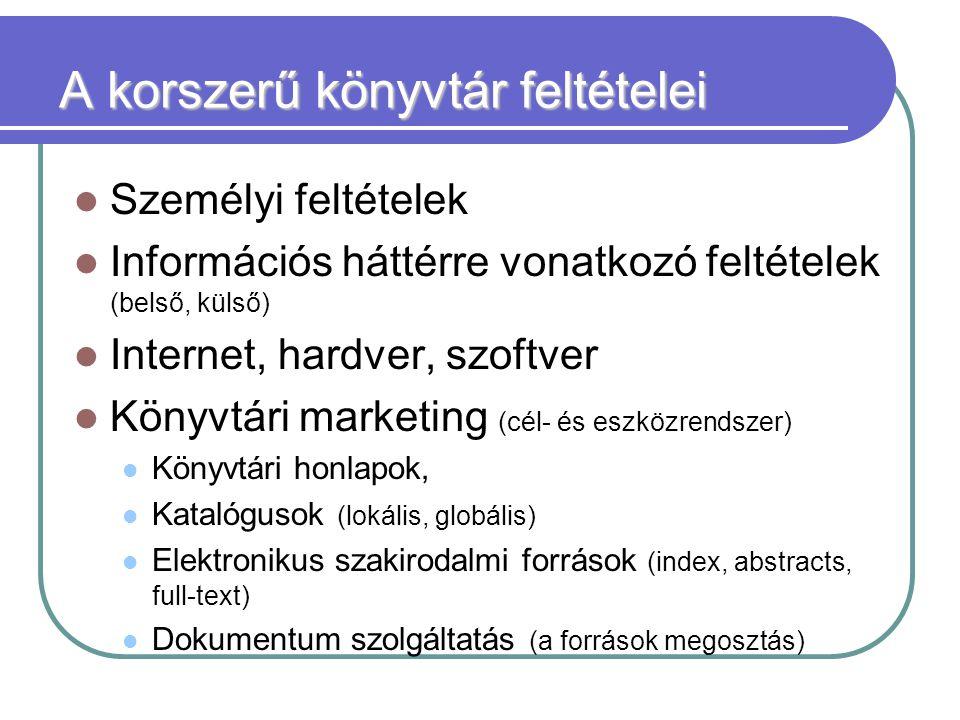 A korszerű könyvtár feltételei Személyi feltételek Információs háttérre vonatkozó feltételek (belső, külső) Internet, hardver, szoftver Könyvtári marketing (cél- és eszközrendszer) Könyvtári honlapok, Katalógusok (lokális, globális) Elektronikus szakirodalmi források (index, abstracts, full-text) Dokumentum szolgáltatás (a források megosztás)