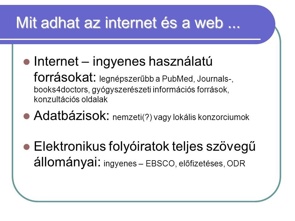 Mit adhat az internet és a web...
