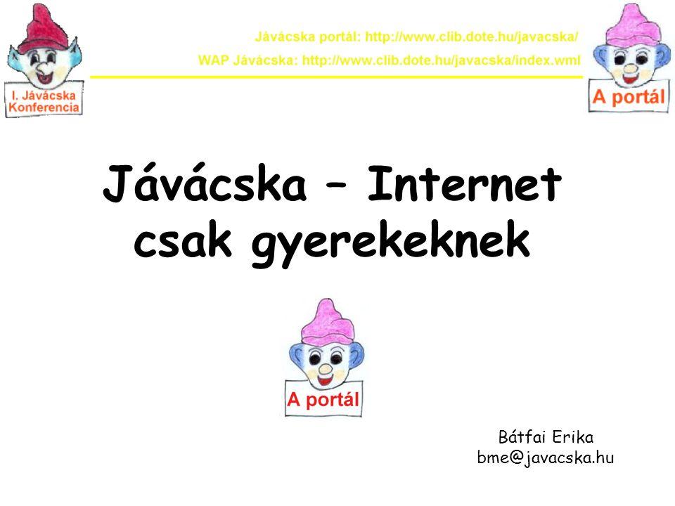Jávácska – Internet csak gyerekeknek Bátfai Erika bme@javacska.hu