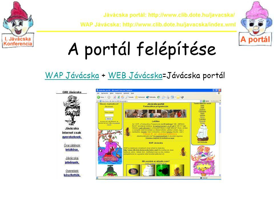 WAP Jávácska A portál egyszerűsített WML felülete, ahonnan az órai mobilos példaprogramok is letölthetők.