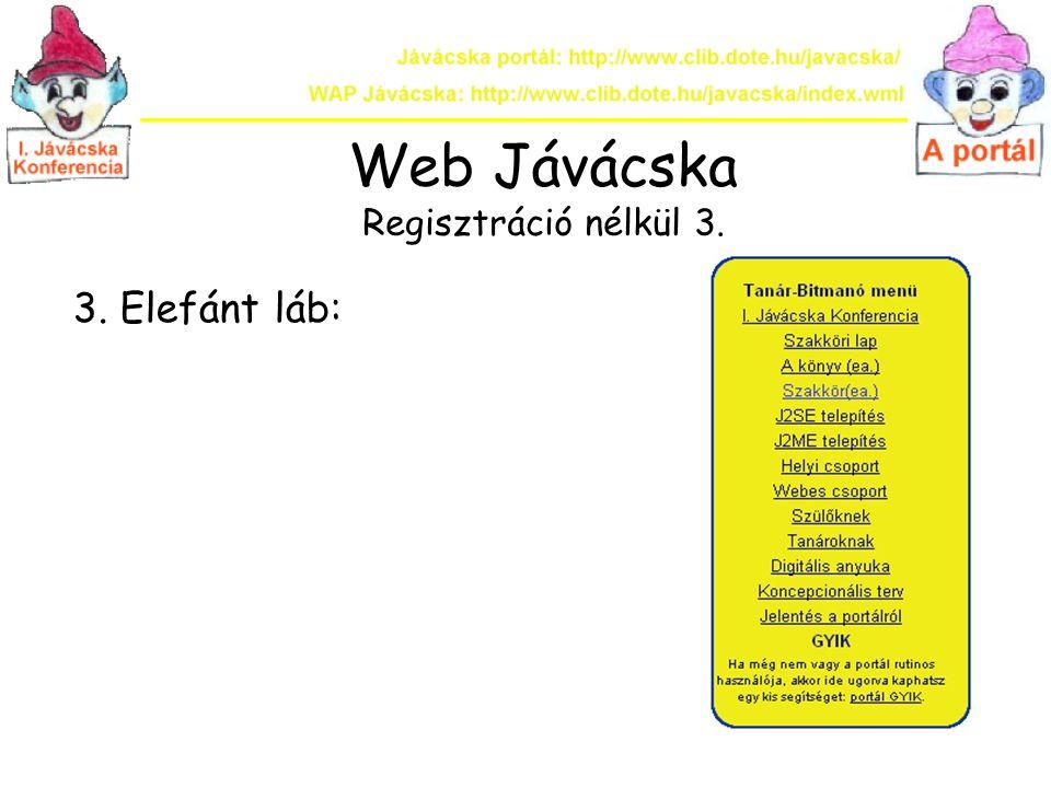 Web Jávácska Regisztrációval 1.A bal oldali elefánt fülben 2.
