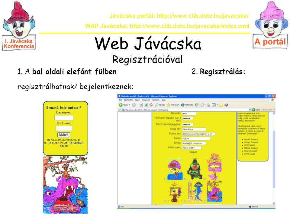 Web Jávácska Regisztrációval 1. A bal oldali elefánt fülben 2. Regisztrálás: regisztrálhatnak/ bejelentkeznek: