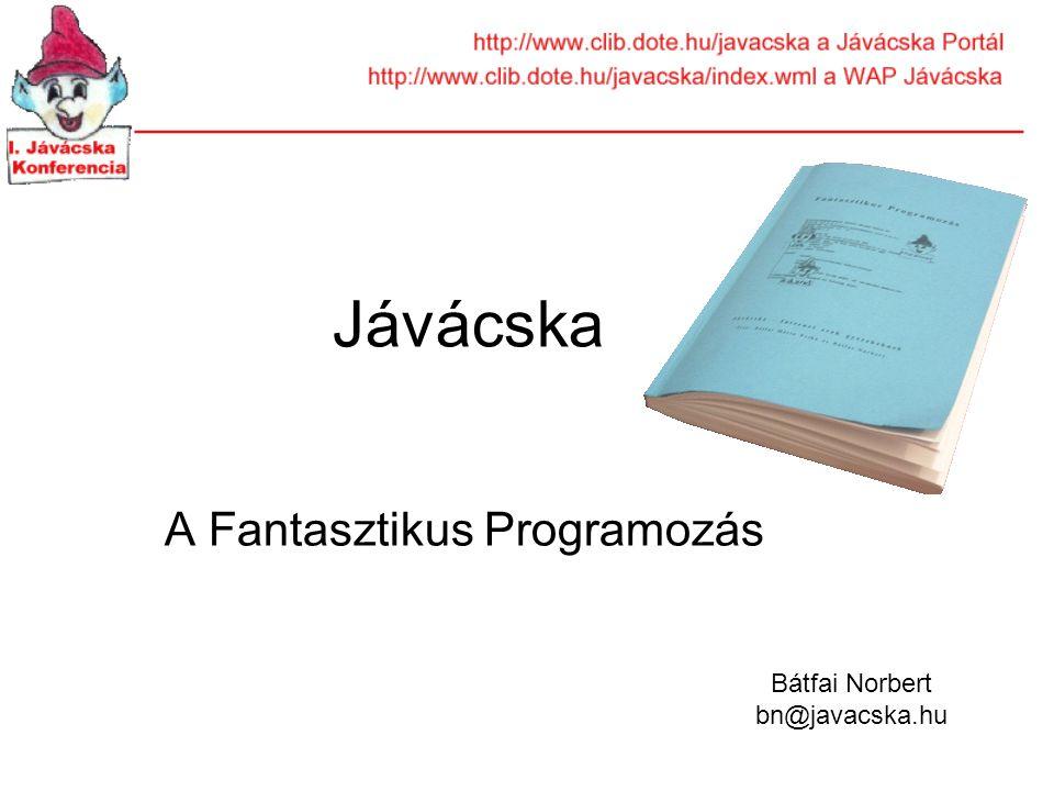 Jávácska A Fantasztikus Programozás Bátfai Norbert bn@javacska.hu
