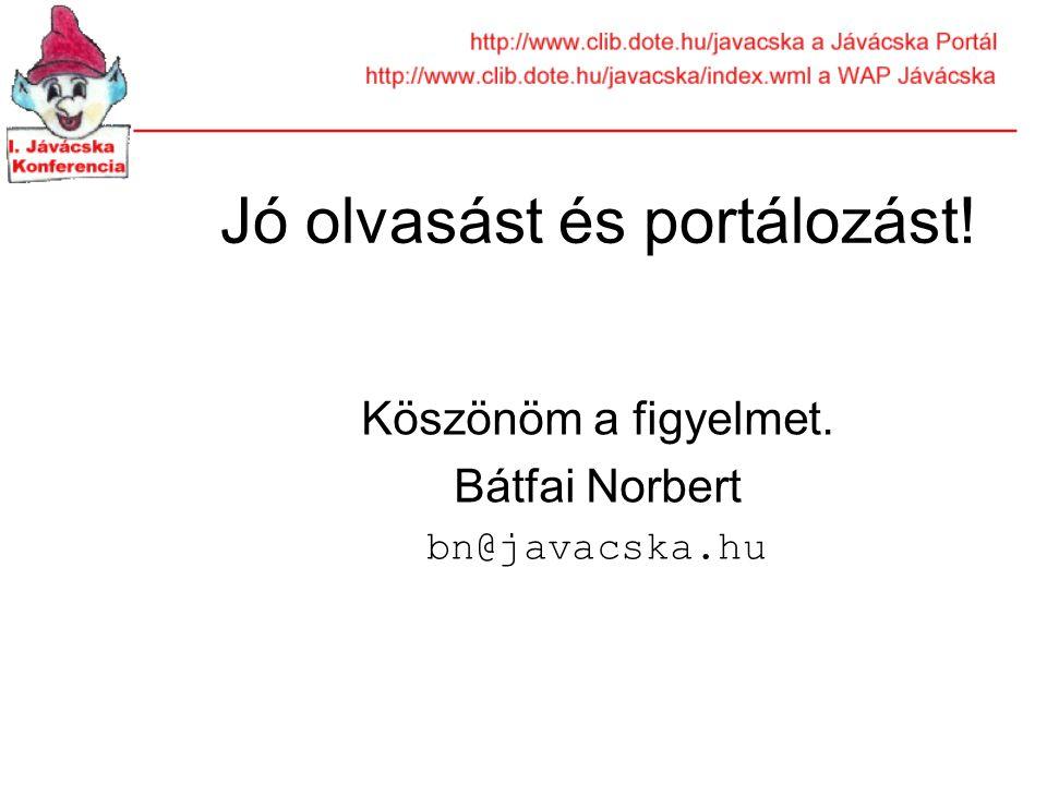 Jó olvasást és portálozást! Köszönöm a figyelmet. Bátfai Norbert bn@javacska.hu